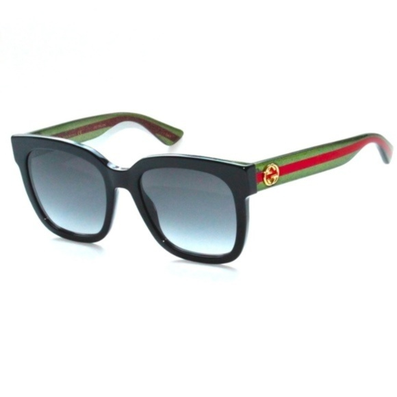 99b3e73b6c GUCCI GG0034S 002 Black-Green-Red Grey Gradient